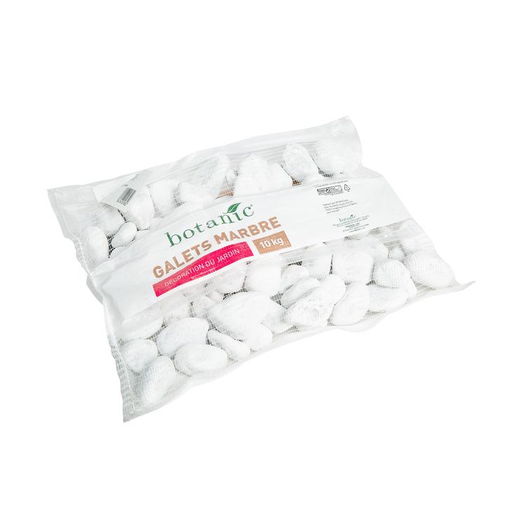Galets de marbre blanc de Carrare calibre 40 à 60 mm en sac de 10 kg 416018
