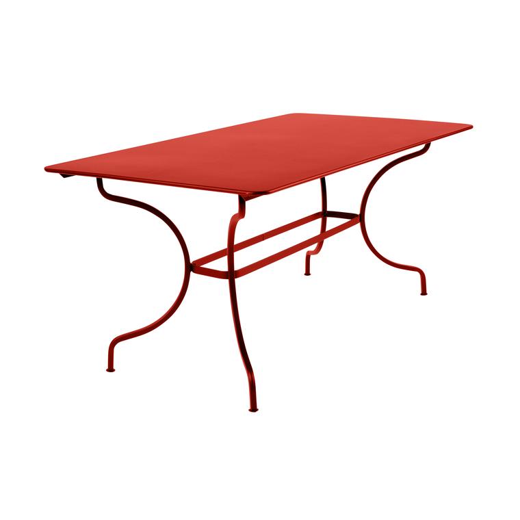 Table Manosque Fermob en acier coloris capucine 160 x 90 x 74 cm 417607