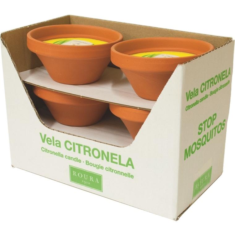 Bougies à l'essence de citronnelle dans bol en terre cuite 424545