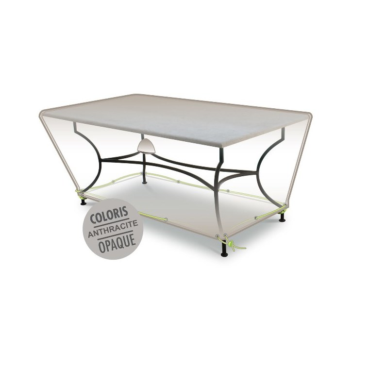 Housse table rectangulaire 8-10 pers. de coloris anthracite en polyester 427465