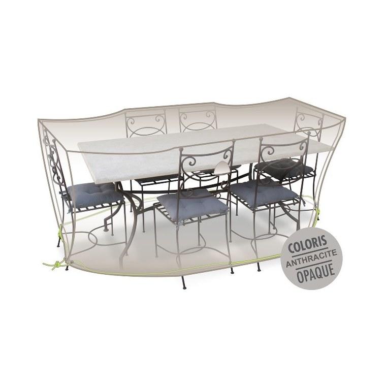 Housse table rectangulaire + chaises 6-8 pers. de coloris anthracite 427472