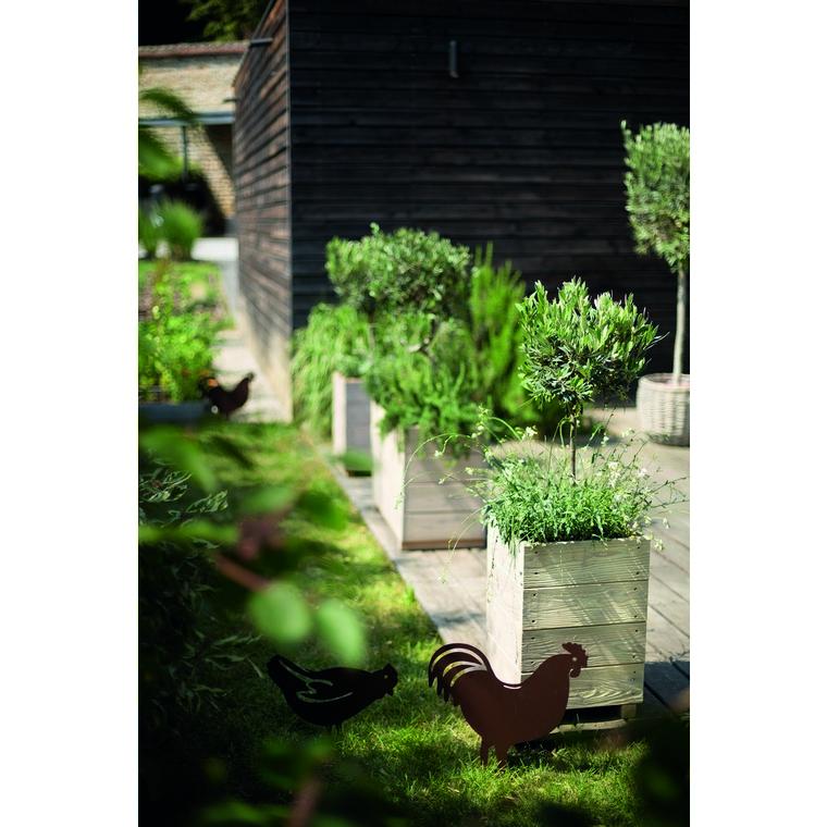 Statue de jardin à piquer coq fer vieilli 452453