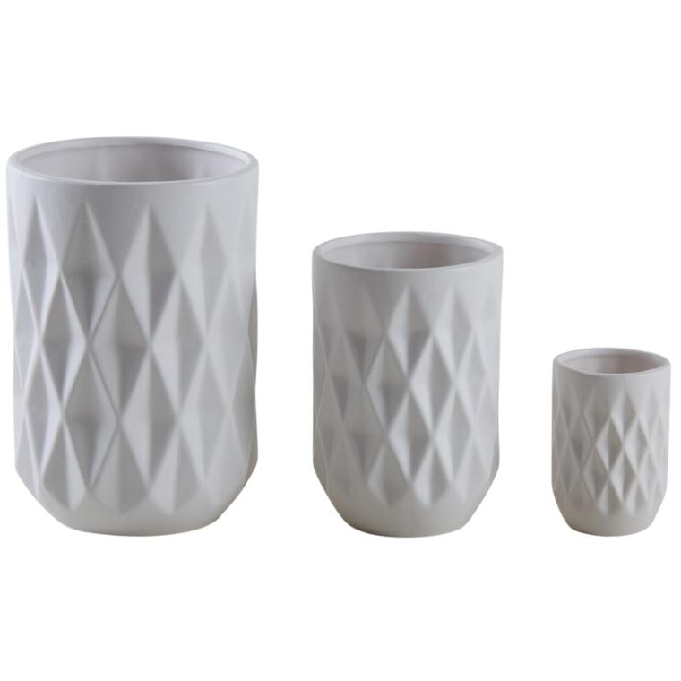 Vase en céramique blanc moyen modèle 463696