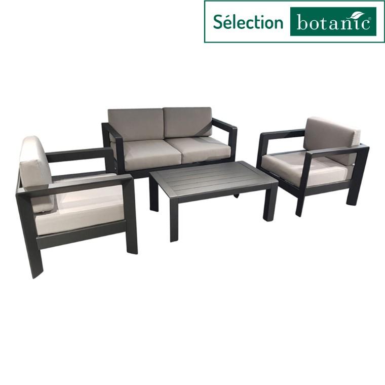 Salon bas Faro coloris noir mat en aluminium 487273