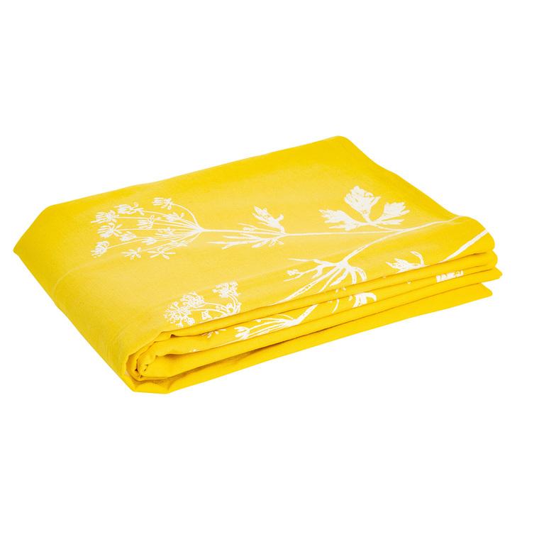 Nappe en coton jaune motif ombelles blanc 150x250 cm 487402