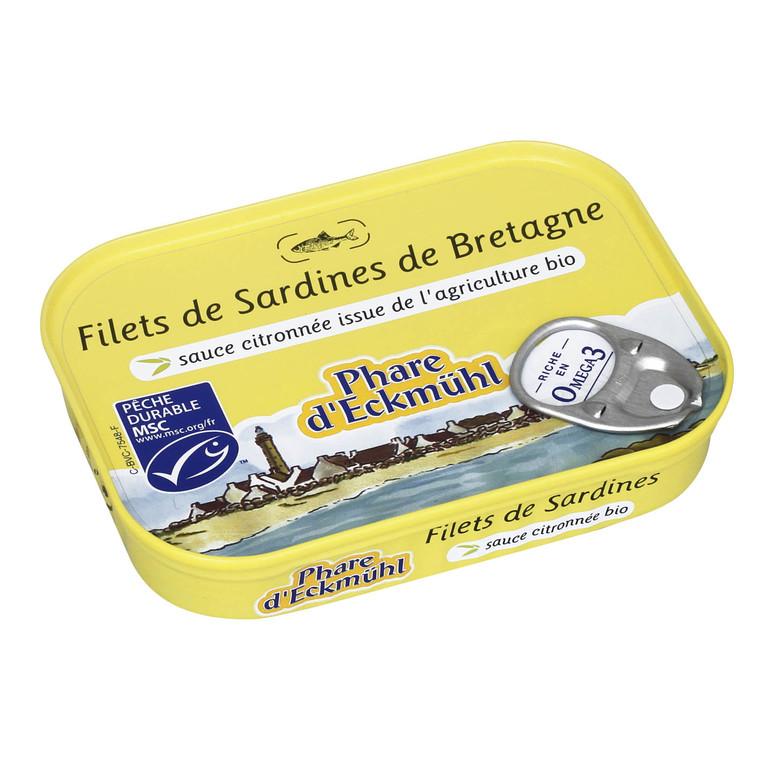 Filets de sardines sauce citronnée bio.100 g PHARE D'ECKMÜHL