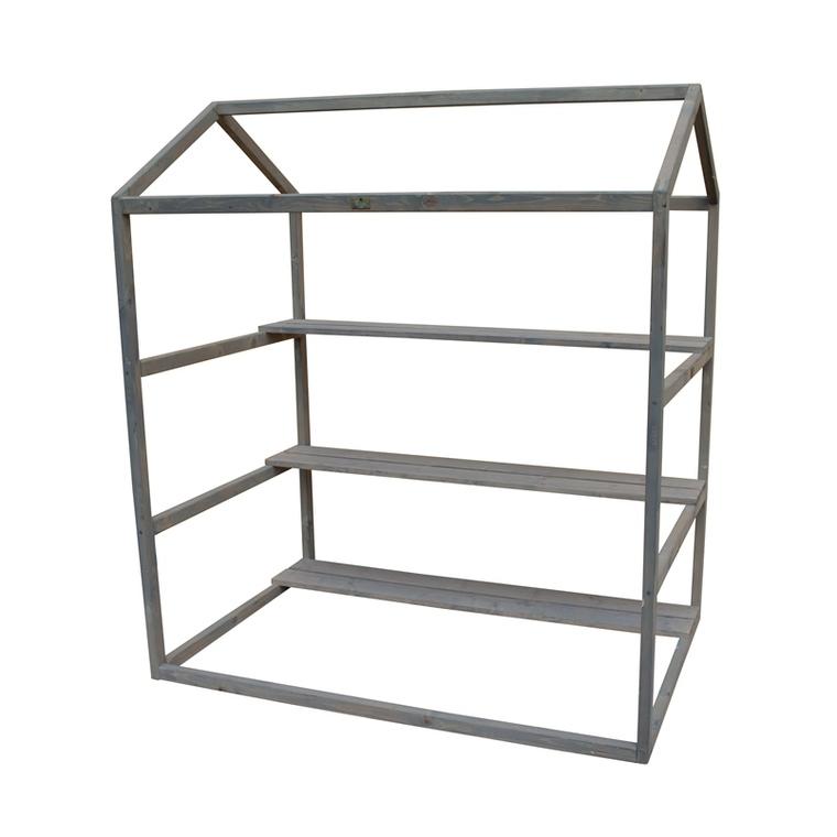 Serre en bois gris pour potager modulable 120 x 80 cm