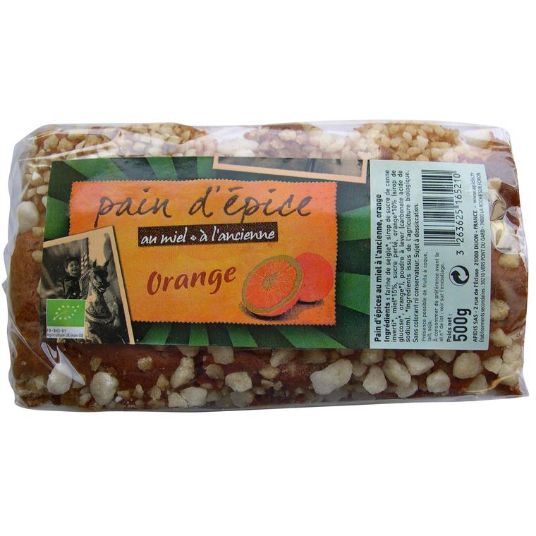 Pain d'épice à l'ancienne bio à l'orange en sachet de 500 g