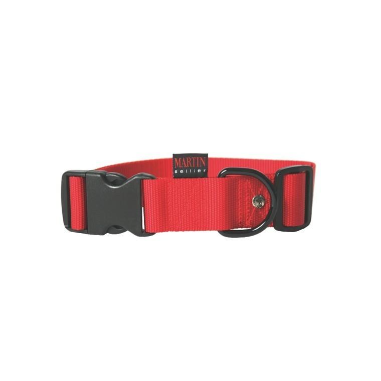 Collier chien réglable 40mm / 50-70cm rouge