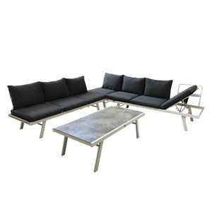 Salon bas Cimatella coloris blanc en aluminium et oléfine 500816