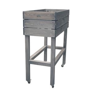 Potager en bois gris sur pieds avec roulettes 40x80 cm 505060