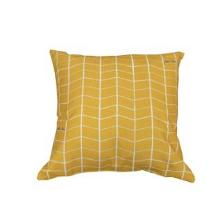 Coussin déco, polycoton, jaune, L50 X l50 X H10 cm 505466