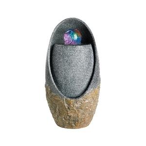 Fontaine LED ovale avec boule en polyrésine 30 x 30 x 59 cm 507383