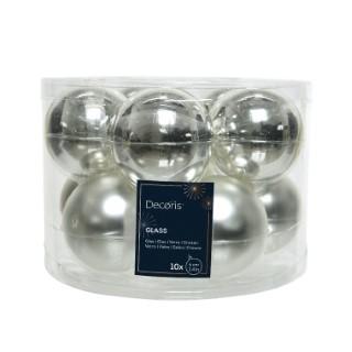 Boite de 10 boules de couleur argent brillant et mat – Ø 6 cm 55459