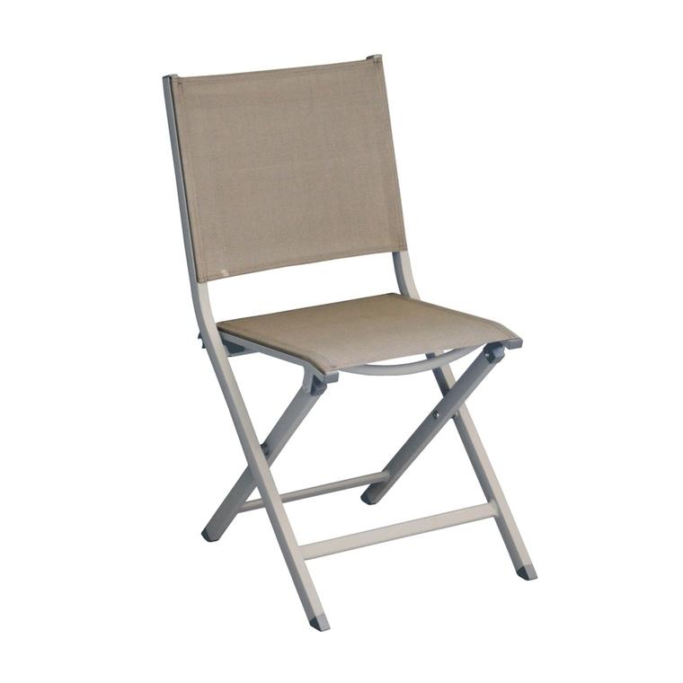 Chaise pliante Max en aluminium taupe léger 90 x 45 x 52 cm 501745