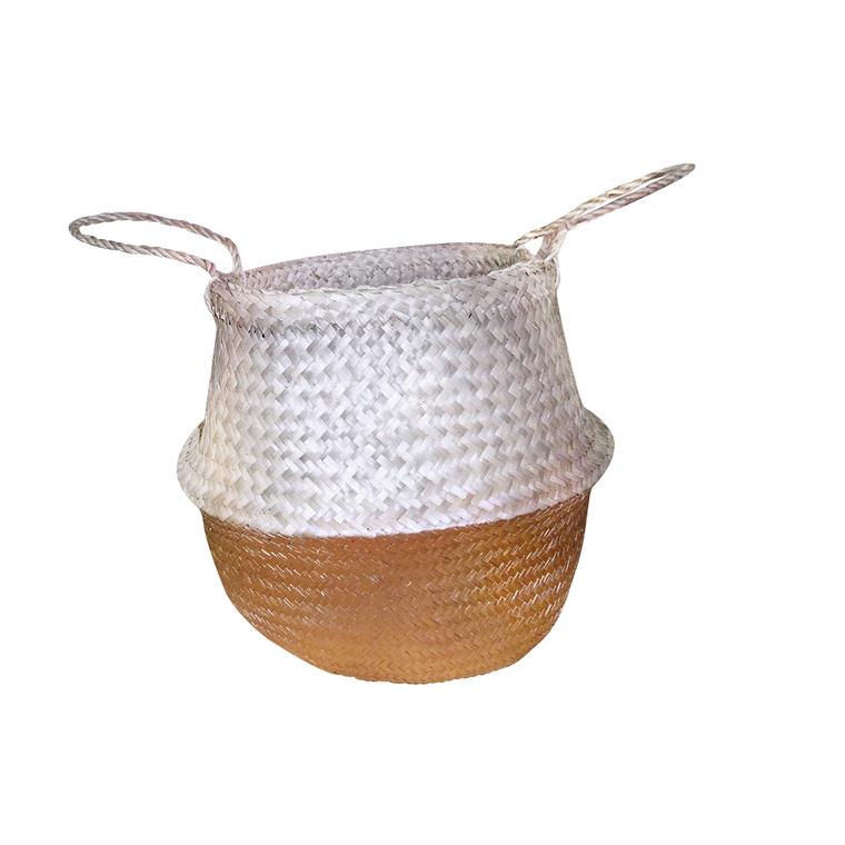 Panier en fibre naturelle bi-matière doré taille L 504670