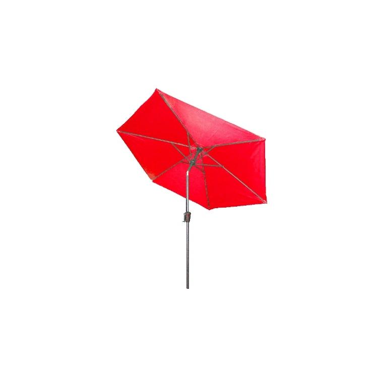 Parasol inclinable à manivelle rouge Ø 250 cm 505477