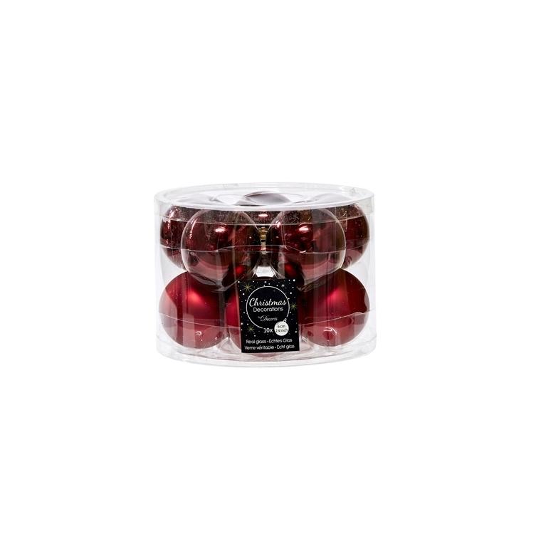 Boîte de 10 boules unies brillant-mat bordeaux 55463