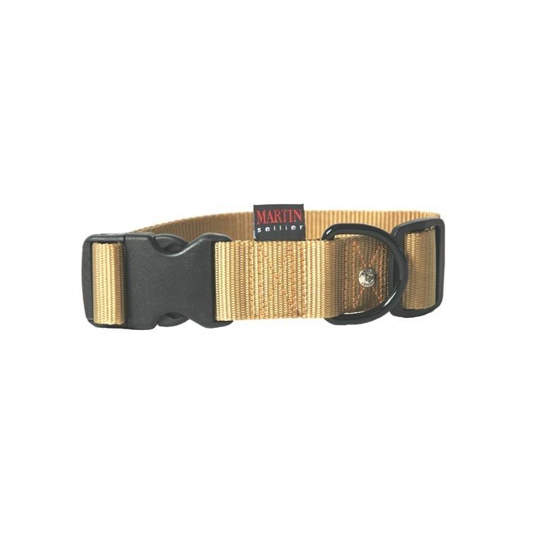 Collier chien réglable 40mm / 50-70cm beige