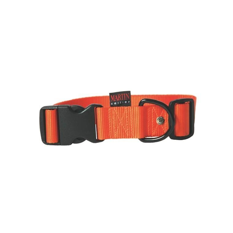 Collier chien réglable 40mm / 50-70cm orange