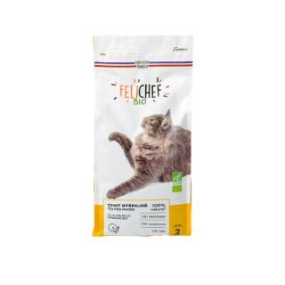 Croquettes chat stérilisé adulte bio sans céréales 2kg