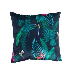 Coussin à motif tropical noir et multicolore en tissu  45 x 45 cm 615768