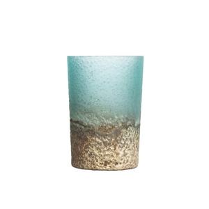 Photophore en verre coloris bleu 6x8 cm 616386