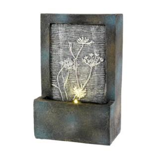 Fontaine murale LED avec déco florale en polyrésine 9 x 15 x 23 cm 617095