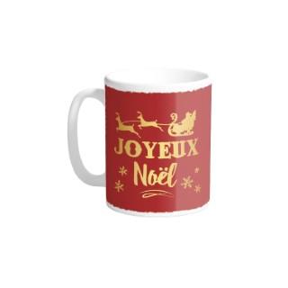 Mug en céramique rouge décoration Joyeux Noël or H 9,5 x Ø 8cm 617303