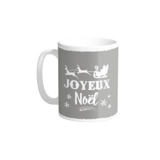 Mug en céramique gris décor Joyeux Noël blanc H 9,5 x Ø 8cm 617306
