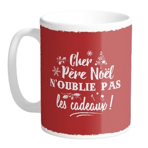 Mug en céramique rouge N'oublie pas les cadeaux H 9,5 x Ø 8cm 617307