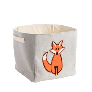 Panier de rangement en coton gris à motif renard orange 25x25x25 cm 617455