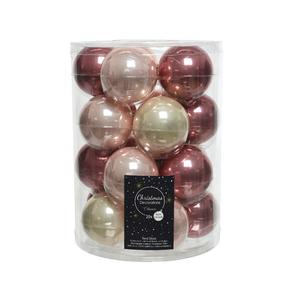Boîte de 20 boules de Noël Ø 6 cm assorties rose clair et foncé
