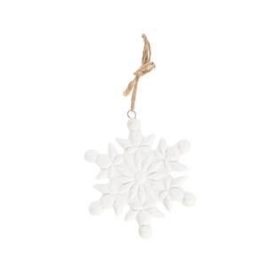 Flocon à suspendre en porcelaine blanche modèles assortis 8x9x0,5 cm