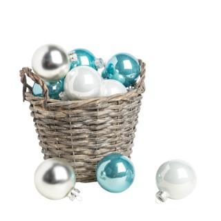 Boîte de 20 boules de Noël verre Ø 6 cm assortiment blanc bleu argent 617788