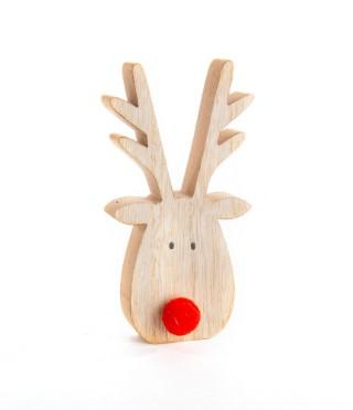 Tête de renne à poser en bois avec nez rouge 8x15 cm