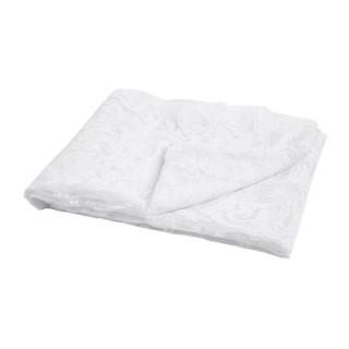 Nappe à volutes en polyester et coton transparent blanc 145x250 cm