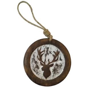 Disque en bois naturel à suspendre motif tête de renne Ø 10 cm