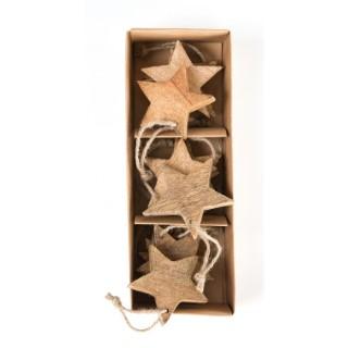 Coffret 27 cm de 12 étoiles en bois pailleté or