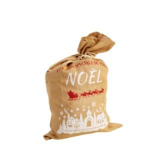 Sac en jute naturel avec motif village de Noël blanc 50 x 80 cm