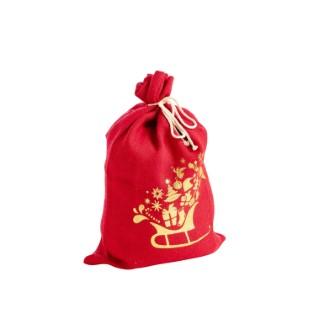 Sac en jute rouge avec motif traineau or 40 x 60 cm