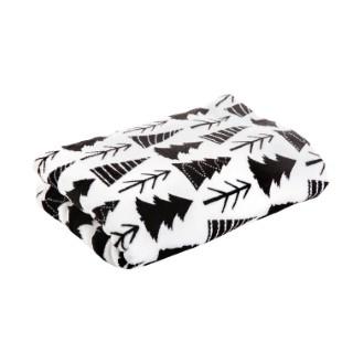 Plaid noir et blanc à motifs sapin 170 x 130 cm