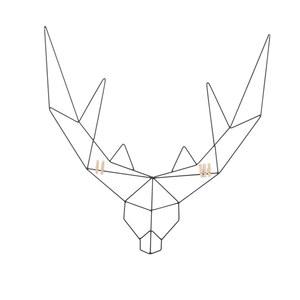 Porte carte en forme de tête de cerf en métal noir 58x0,5x58 cm 622743