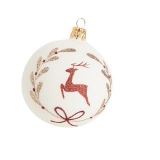 Boule de Noël en verre blanc et or avec motif renne rouge Ø 7 cm