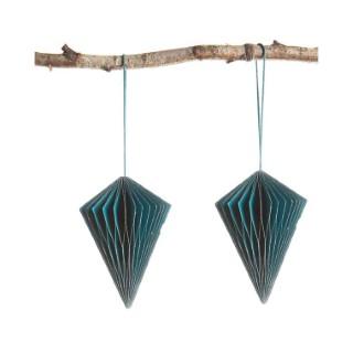 Ensemble de 2 ornements diamant à suspendre en papier bleu canard 10 cm