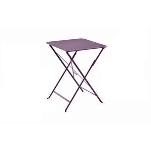 Table pliante carrée couleur aubergine 57 x 57 x 74 cm