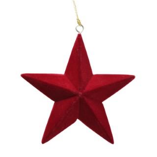Étoile de Noël à suspendre en velours rouge 11x3x11 cm