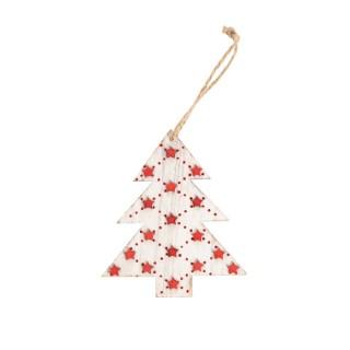 Sapin blanc à étoiles rouges en bois à suspendre 11x10,5x0,8 cm