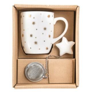 Coffret tasse et boule à thé en porcelaine blanche 18,5x14,5x8 cm