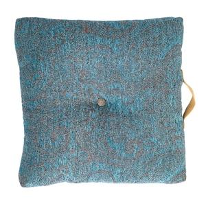 Coussin de sol carré avec anse Petrol coton et polyester bleu 45x45 cm 623974